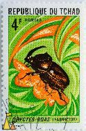 African Rhinoceros Beetle, Republique de Tchad, Chad, stamp, insect, beetle, P Lambert, Fabricius, 4 F, Postes, Oryctes boas