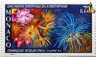 Anemones, Monaco, stamp, underwater, anemones, Exploration Scientifique dela Mediterranee, Decembre, 1974, 0.70, Comission Internationale, P. Lambert