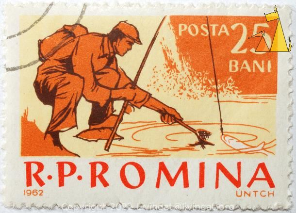 Angler in orange, R.P. Romania, Romania, stamp, fishing, fisherman, angler, Posta, 25 Bani, 1962, UNTCH