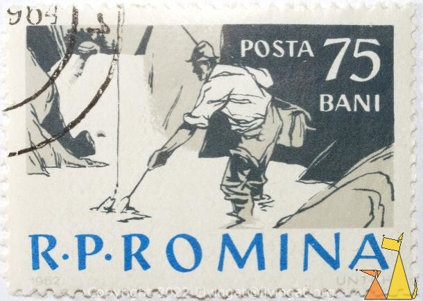 Angler netting fish, R.P. Romania, Romania, stamp, fisherman, angler, fishing, Posta, 75 Bani, 1962, UNTCH