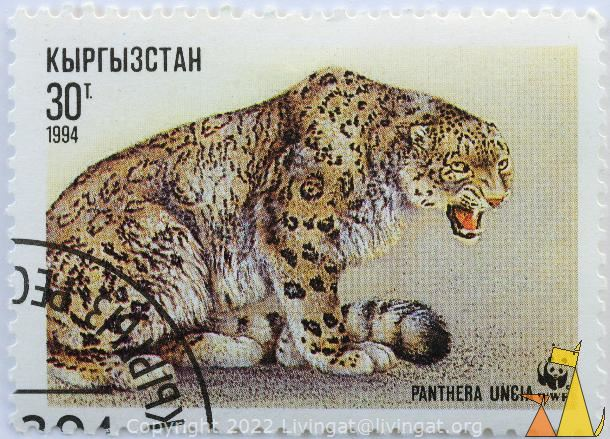 Angry Snow Leopard, Kyrgyzstan, stamp, mammal, cat, WWF, Panda, Panthera uncia, 1994, 30 T