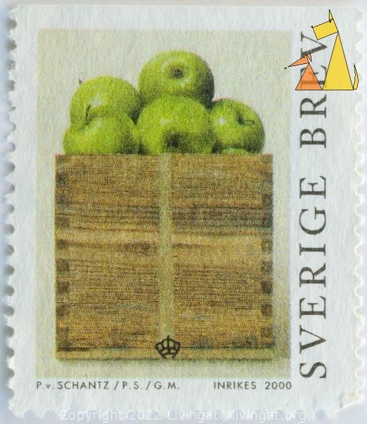 Apples in a box, Sverige, Sweden, stamp, plant, fruit, food, Malus domestica, brev, inrikes, 2000, P Schantz, PS, GM