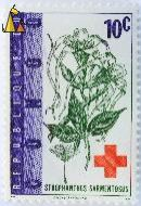 Arrow poison, Republique du Congo, Congo, stamp, plant, flower, red cross, VN, dV, Enschede, Holland, 10 c, Strophanthus sarmentosus