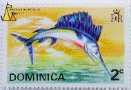 Atlantic White Marlin, Dominica, stamp, fish, 2 c, EIIR, Billfish, Makaira albida, Tetrapturus albidus