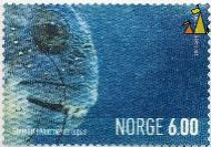 Atlantic wolffish, Norge, Norway, stamp, fish, portrait, 2004, Enzo Finger, Stenbit, 6.00, Anarhichas lupus
