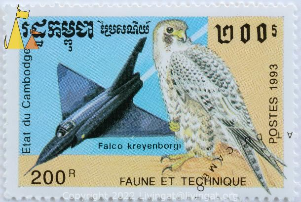 Austral Peregrine Falcon vs Jet, Etat du Cambodge, Cambodia, stamp, bird, plane, fighter jet, aircraft, 200 R, Postes, 1993, Faune et Technique, Falco kreyenborgi, Falco peregrinus cassini, Mirage
