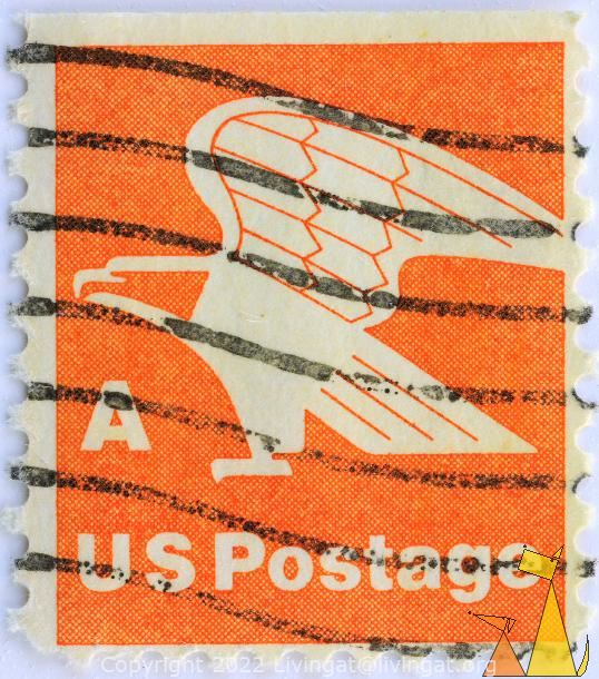 Bald Eagle on Orange, US, USA, stamp, bird, eagle, Haliaeetus leucocephalus, Bald Eagle, US Postage, A, orange