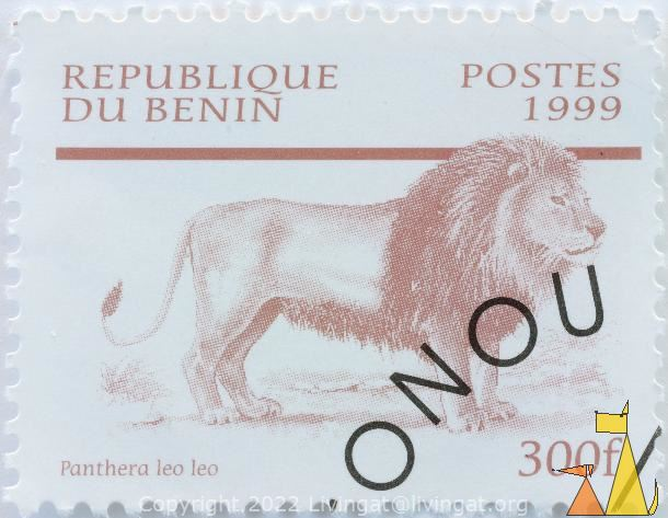 Barbary lion, Republique du Benin, Benin, stamp, mammal, 1999, Postes, 300 f, cat, Panthera leo leo