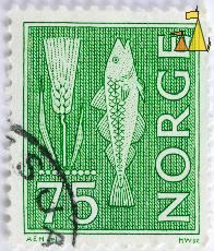 Barley and Cod, Norge, Norway, stamp, wheat, fish, green, farming, fishing, HWsc, AEH del, 75, Hordeum vulgare
