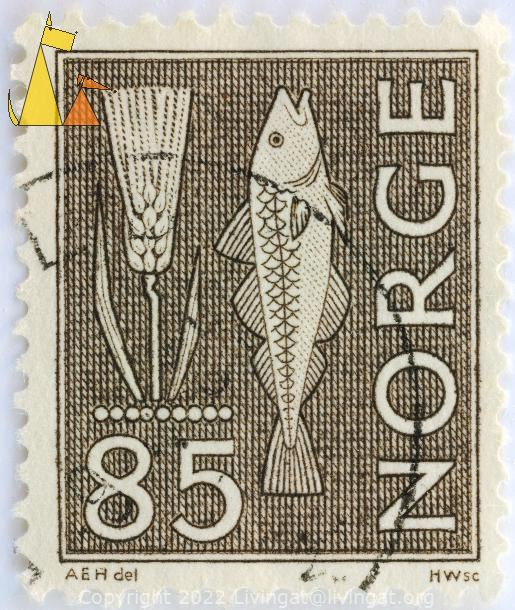 Barley and Cod, Norge, Norway, stamp, wheat, fish, green, farming, fishing, HWsc, AEH del, 85, Hordeum vulgare