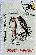Barn Swallow, Romana, Romania, stamp, wire, bird, 90 L, Posta, Hirundo rustica