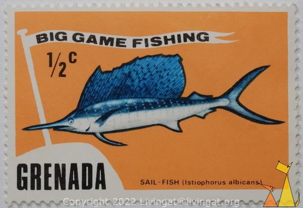 Big game fishing, Grenada, stamp, fish, ½ c, Big game fishing, Istiophorus albicans, Sail-fish