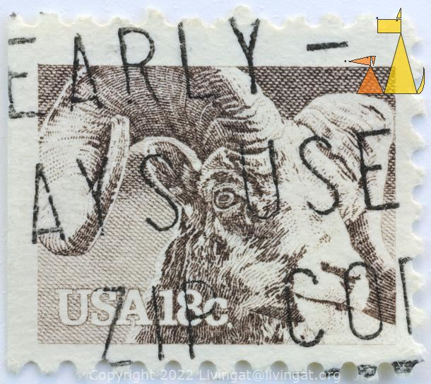 Bighorn Sheep, USA, stamp, mammal, goat, 18 c, Ovis canadensis