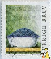 Bilberries in a bowl, Sverige, Sweden, stamp, plant, berries, food, inrikes, 2000, P Schantz, PM, GM