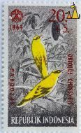 Black-naped Oriole, Republik Indonesia, Indonesia, stamp, bird, 20+5, 1964, Nepodang, Oriolus chinensis