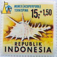 Black-spined murex, Republik Indonesia, Indonesia, stamp, shell, 15+1.50, Acupurpura, Murex ternispina