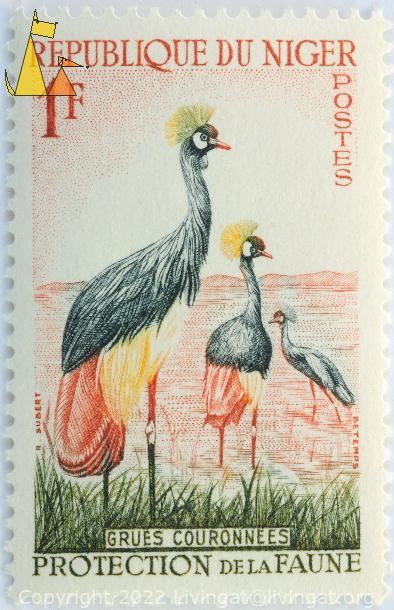 Black Crowned Crane, Republique du Niger, Niger, stamp, bird, Postes, 1 F, Grues couronnees, Protection de la Faune, Betemps, R Subert, Balearica pavonina
