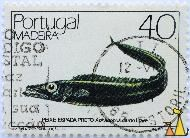Black Scabbardfish, Madeira, Portugal, stamp, fish, 40, INCH Imp 85, Alfredo d Conceicao des, Lowe, Aphanopus carbo