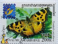Blackleg Tortoiseshell, Royaume du Cambodge, Cambodia, stamp, insect, butterfly, Postes, 2001, Belgica, 200 R, Nymphalis polychloros