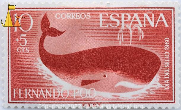 Blowing Sperm Whale, Fernando Poo, Espana, Bioko, stamp, mammal, whale, 10 +5 Cts, FNMT, Dia Del Sello, 1960, red, Physeter catodon