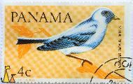 Blue-gray Tanager, Panama, stamp, bird, Thomas de la Rue, C Alonso, 4 c, Azulejo, Thraupis episcopus