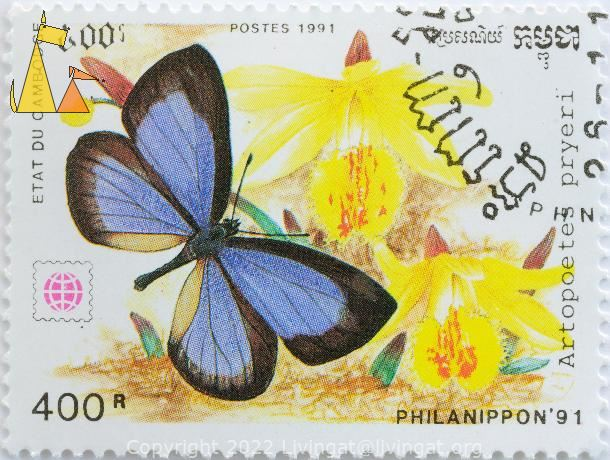 Blue Hairstreak, Etat du Cambodge, Cambodia, stamp, insect, butterfly, Postes, 1991, Philanippon'91, 400 R, Artopoetes pryeri