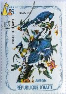 Blue Jays, Republique D'Haiti, Haiti, stamp, bird, 75 Centimes, Cyanocitta cristata, Avion