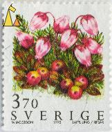 Blue Mountainheath, Sverige, Sweden, stamp, plant, flower, berries, 3.70, M Jacobson, 1995, Lappljung, Ripbär, Phyllodoce caerulea