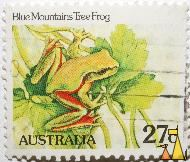 Blue Mountains Tree Frog, Australia, stamp, frog, 27 c, Blue Mountains Tree Frog, Litoria citropa