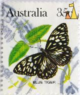 Blue Tiger, Australia, stamp, insect, butterfly, 35 c, plant, Tirumala hamata