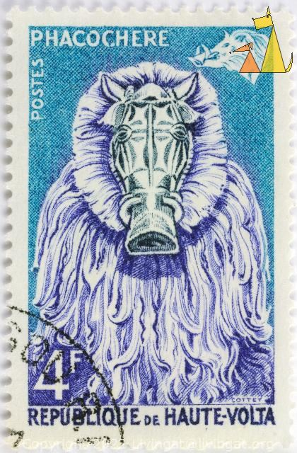 Blue Warthog Mask, Republique de Haute-Volta, Burkina Faso, stamp, mammal, pig, Phacochere, Cottet, 4 F, Blue, Postes, Phacochoerus africanus