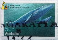 Blue Whale, Australia, stamp, mammal, wwf, panda, 50 c, 2006, whale, mother, calf, Balaenoptera musculus