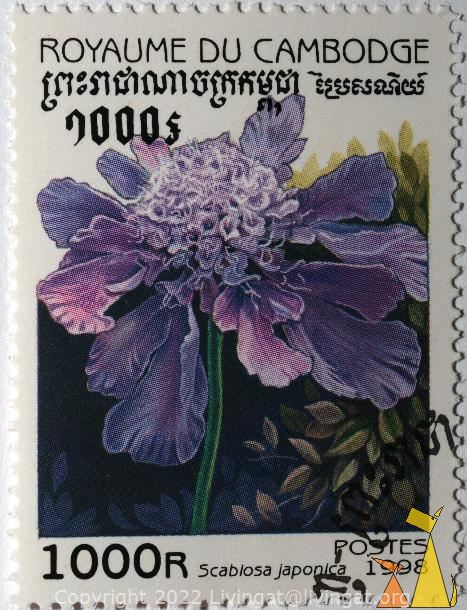 Blue diamonds, Royaume du Cambodge, Cambodia, stamp, plant, flower, Scabiosa japonica, Postes, 1998, 1000 R