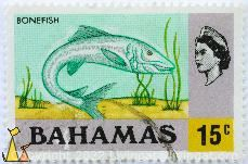 Bonefish in Light Green, Bahamas, stamp, fish, Queen Elizabeth II, Albula vulpes, 15 c