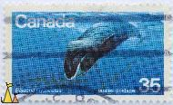 Bowhead Whale, Canada, stamp, mammal, whale, 35, postes, postage, Balaena mysticetus, 1979