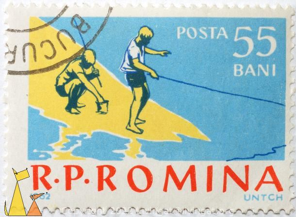 Boys fishing, RP Romina, Romania, stamp, fishing, boys, 1962, UNTCH, Posta, 55 Bani