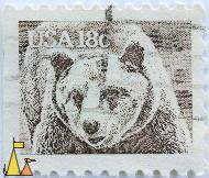 Brown Bear, USA, stamp, mammal, Ursus arctos, 18 c