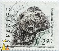 Brown Bear on a Rock, Sverige, Sweden, stamp, mammal, Ursus arctos, 2.90, S Ullström, 1993, P Naszakowski sc, Brunbjörn