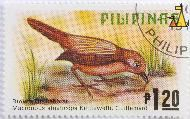 Brown Tit-Babbler, Pilipinas, Philippines, stamp, bird, 1.20 P, Brown Titt Babbler, Macronous striaticeps kettlewelli, Guillemard