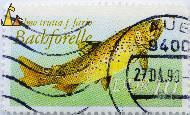 Brown Trout, DDR, Germany, stamp, fish, 10, Bachforelle, Salmo trutta, Salmo trutta f. fario