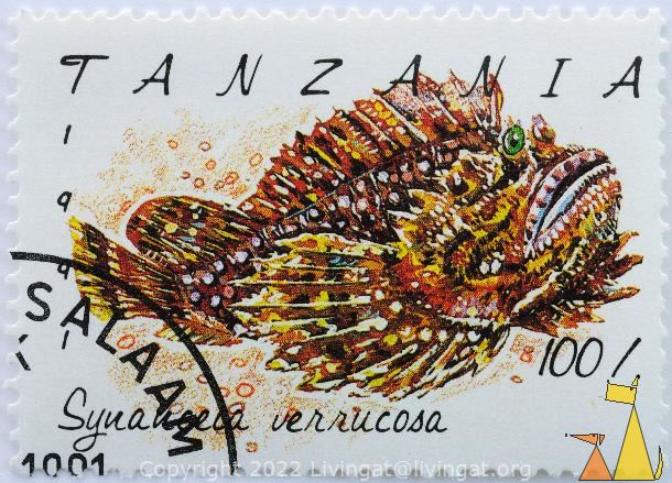 Brownish Stonefish, Tanzania, stamp, fish, 1991, 60, Synanceia verrucosa