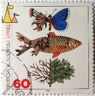 Butterfly, Fish and Three, Germany, stamp, fish, Deutsche, Bundespost, Umweltschutz, 1981, 60, butterfly, three