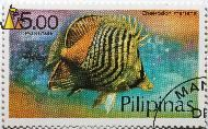 Butterfly fish, Pilipinas, Philippines, stamp, fish, 5.00 p, Pesos, Postage, Chaetodon mertensi