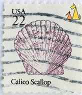 Calico Scallop, USA, stamp, shell, 22, Argopecten gibbus