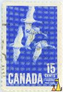Canada geese, Canada, stamp, bird, flying, 15 cents, Postage, Postes, Branta canadensis