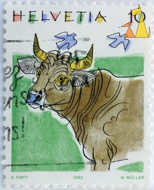 Cattle Water Color, Helvetia, Switzerland, stamp, cattle, cow, mammal, 10, C Piatti, 1992, M Muller, Bos taurus