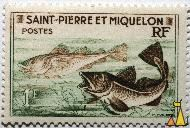 Cod, Atlantic and Greenland, Saint-Pierre et Miquelon, Saint Pierre and Miquelon, stamp, fish, Postes, RF, 1 F, P Munier, Gadus ogac, Gadus morhua, Atlantic cod, Greenland cod