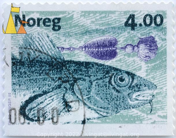 Cod and Bait, Noreg, Norway, stamp, fish, Gadus morhua, fishing, 4.00, Enzo Finger, 1999