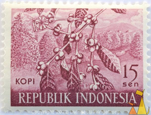 Coffee in Wine, Republik Indonesia, Indonesia, stamp, plant, 15 Sen, Kopi, farming, crop, Coffea spp