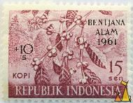 Coffee in Wine, Republik Indonesia, Indonesia, stamp, plant, 15 Sen, Kopi, farming, crop, Coffea spp, Bentjana alam, 1961, +10 s